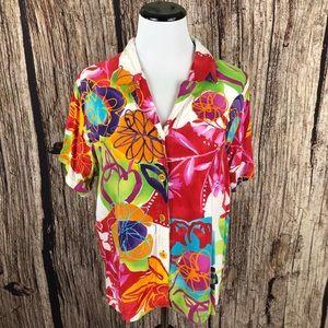 Vintage Jams World Floral Hawaiian Shirt Size L